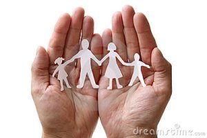 Hands holding family