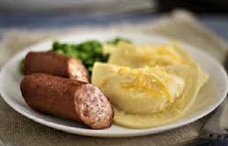 pierogis and sausage